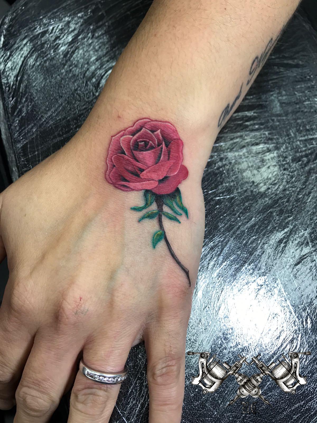 Rose on Hand Tattoo