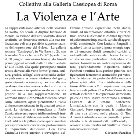 - Italia Sera - La Violenza e l'ArteCollettiva alla galleria Cassiopea23 Giugno 2010