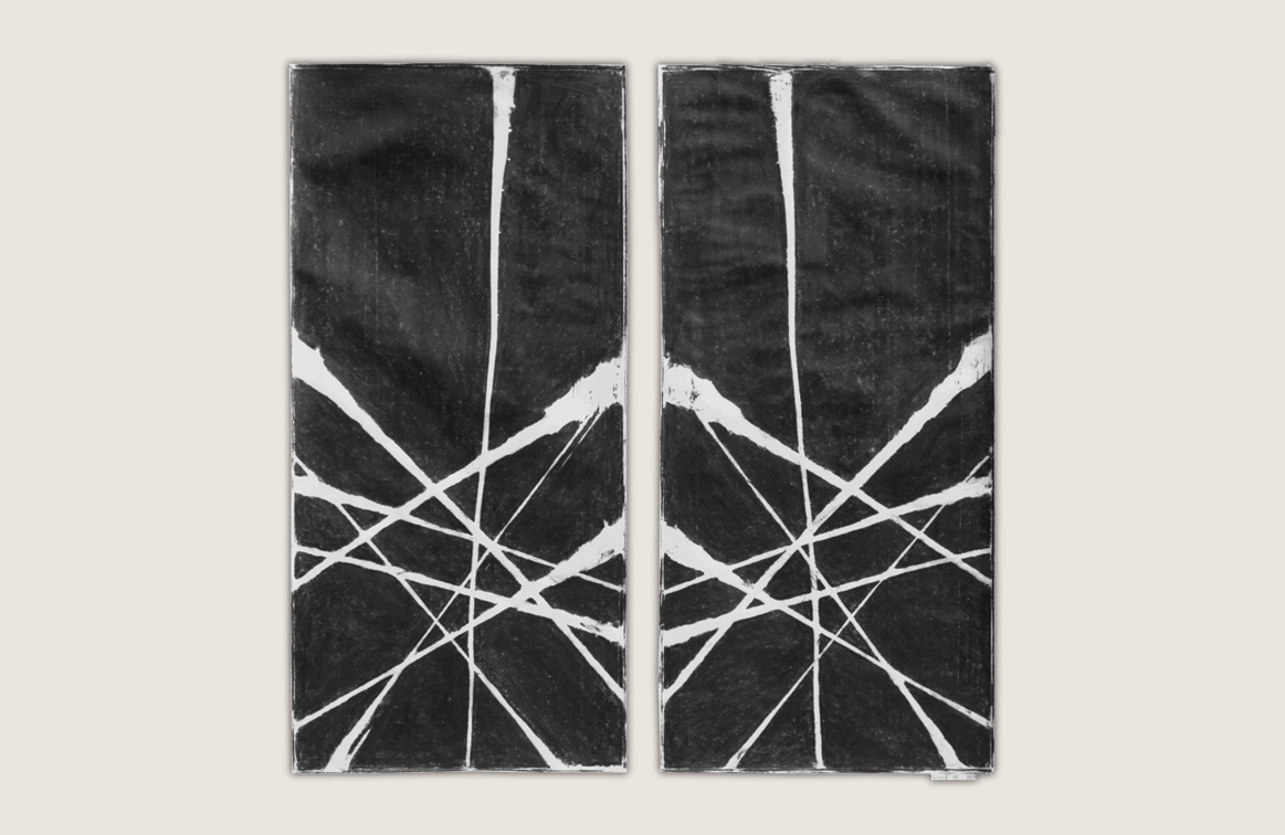 Burnt Panel Diptych No. 26 Frottage
