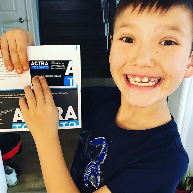 The Podemski-Bedard family's newest @actranational #ACTRA member!! This is so emotional for me. Not sure I can mention how this all happened or what show he's on but I'm just so tickled. Thank you @justtryandstopme for your support always and thank you @actratoronto