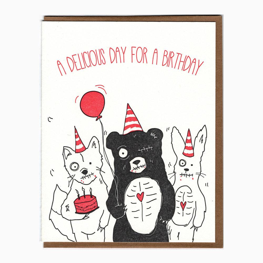 birthday zombie card — Blackbird Letterpress