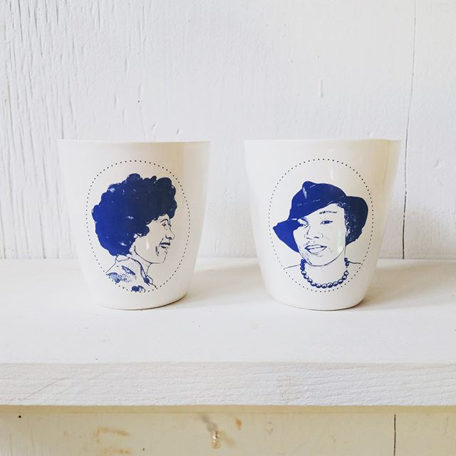 "💥Ok friends we're almost ready to list these limited edition Inspiring Women handmade ceramic cups. Sign up for our newsletter to know exactly when they are live in our retail online shop! We'll post them on IG too but you may not see it in a timely fashion. Sign up on our home page, link in bio. Hoping to get these up in next few days. Very limited edition, made by @mikecervpottery and they are amazing! About 3.5"" y'all & hold about 8oz. I'm a sucker for ceramic cups and these are my new favorites! Shirley Chisholm, Zora Neale Hurston, AND Frida Kahlo! When they're gone they're gone. If you're local to Baton Rouge, email for free shipping code & to schedule pick up. • • • #ceramiccups #cup #ceramiccup #slipcast #screenprinteddecal #inspiringwomen #shirleychisholm #zoranealehurston #fridakahlo #womenshistory #blackbirdletterpress #nothingisworthmorethanlaughter"