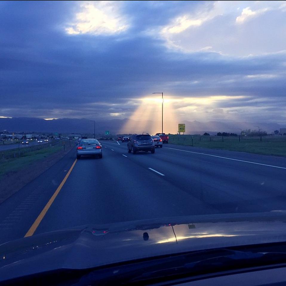 """Sun rays peeking through the clouds tonight"""