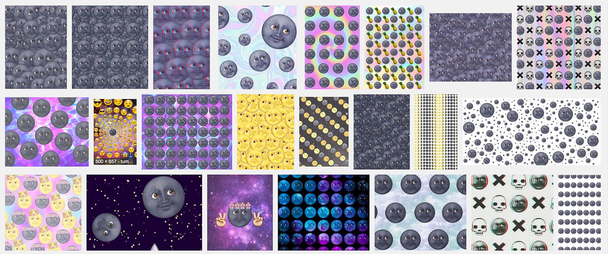 """Detail of  50,900,000 (Emojis speak louder than words) ,digital collage, 144"""" x 36"""" ©2016 kristen m. watson"""