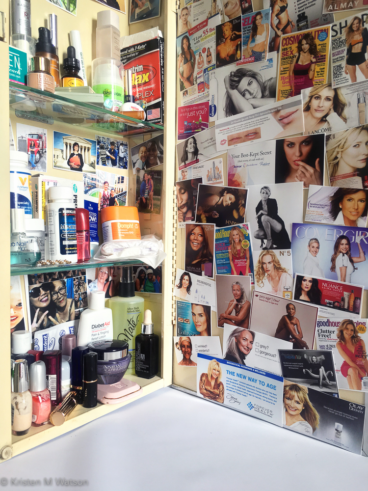 Her life (from the cabinet)_health and beauty products, medicine cabinets, digital print collage, 35 x 11.5 x 4_©2016 kristen m. watson_7.jpg