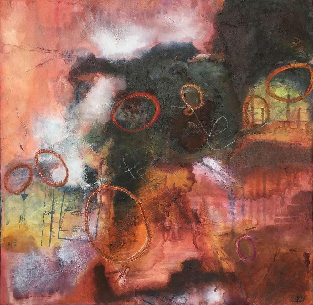 Behavior afflicts us all, 24x24x1.5in, acrylic, pastel, graphite, paper on canvas, ©2016 kristen m. watson 2.jpg