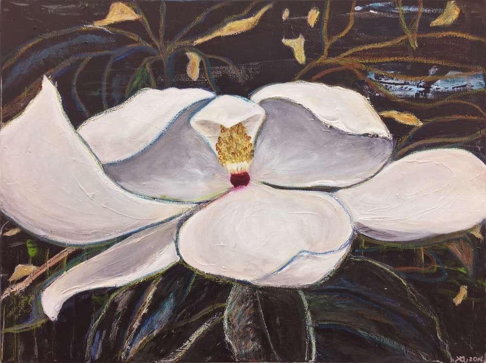 Magnolia, 18x24 in. acrylic and oil pastel on canvas, ©2016 kristen m. watson 2.jpg
