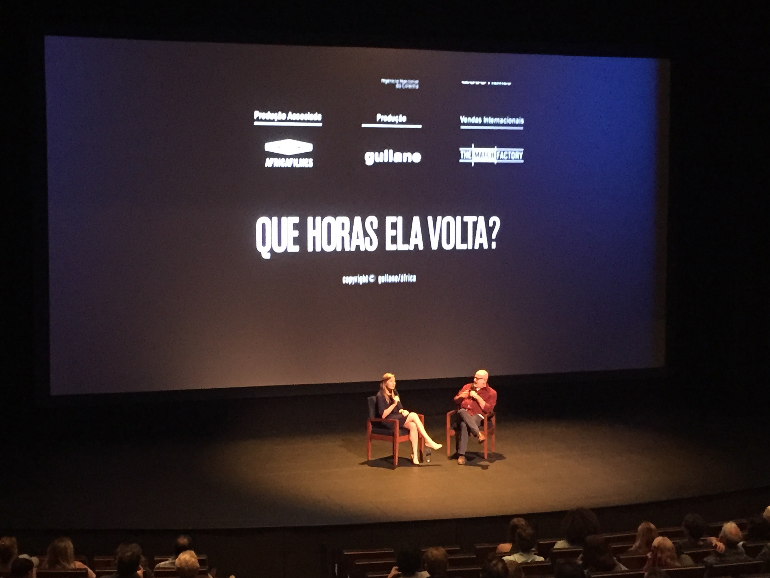 """Speaking about the politics of household work in South America at KRCW's First Take screening of """" The Second Mother (Que Horas Ela Volta?)""""  at the Wallis Annenberg Center for the Performing Arts in Los Angeles, California."""