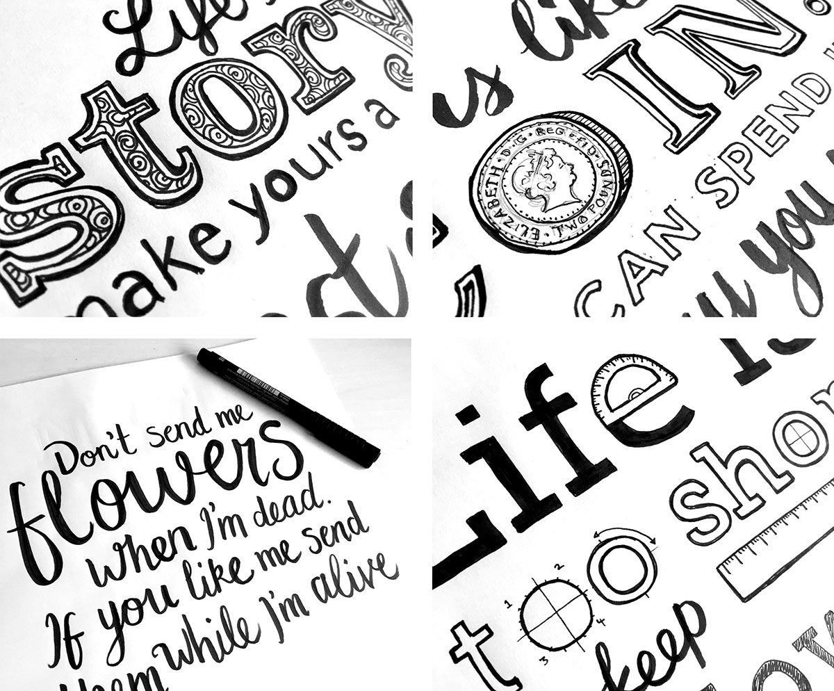 illustrated lettering work