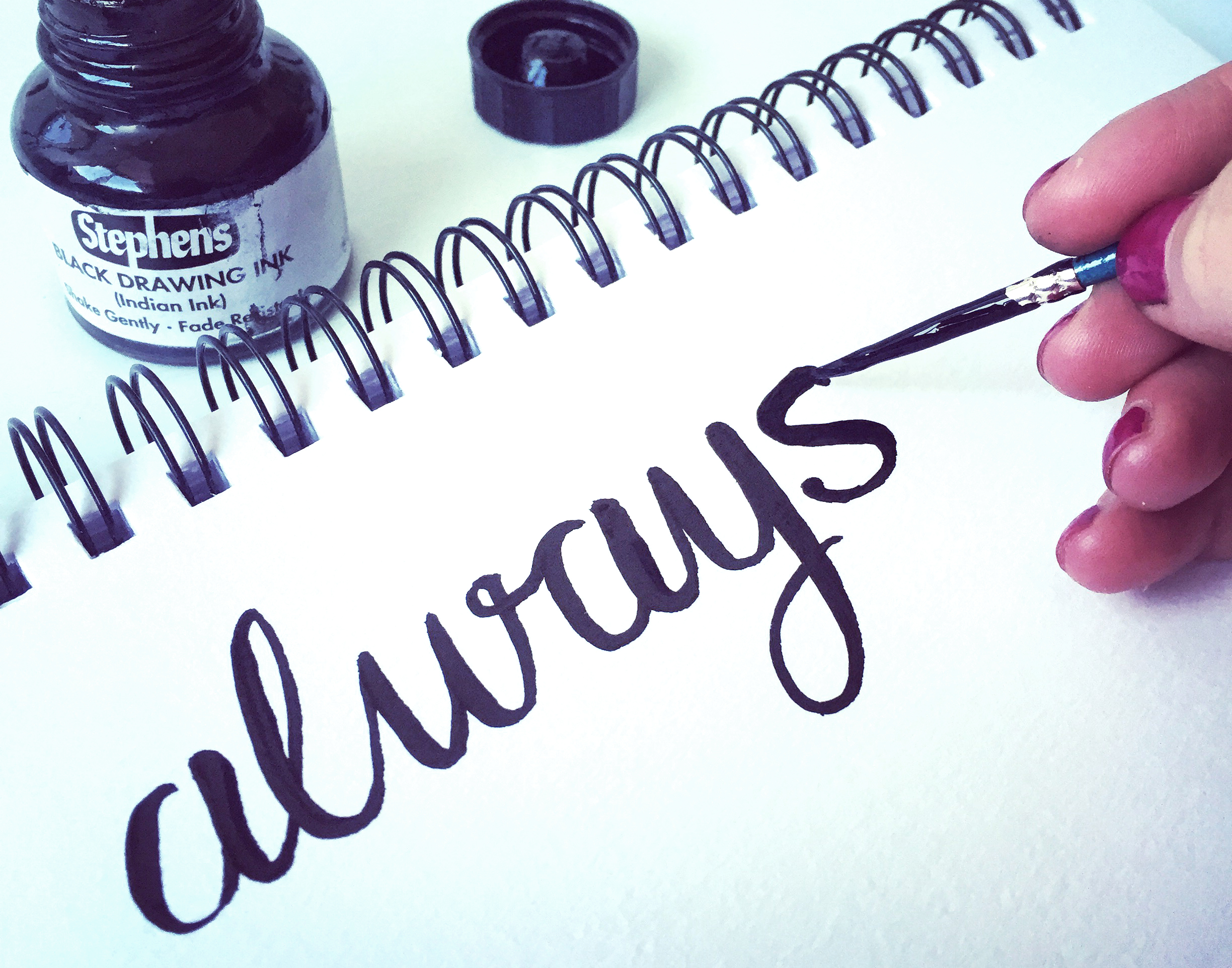 lettering work with ink