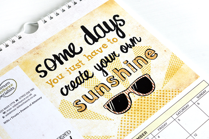 illustrated calendar with hand drawn lettering