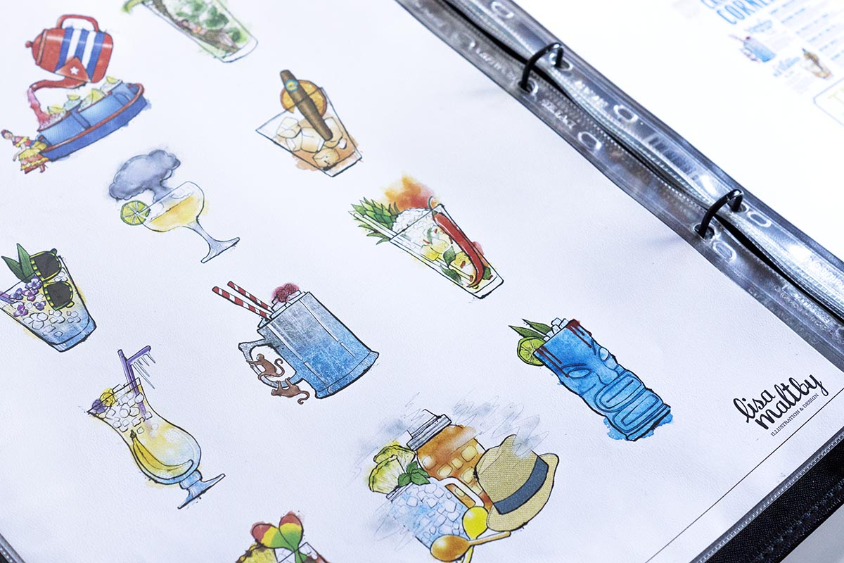 Cocktail illustrations: A page from my portfolio