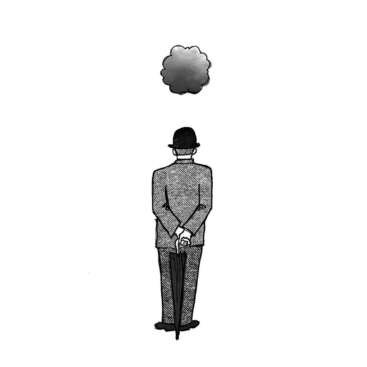 Black and white illustration of man waiting for the rain