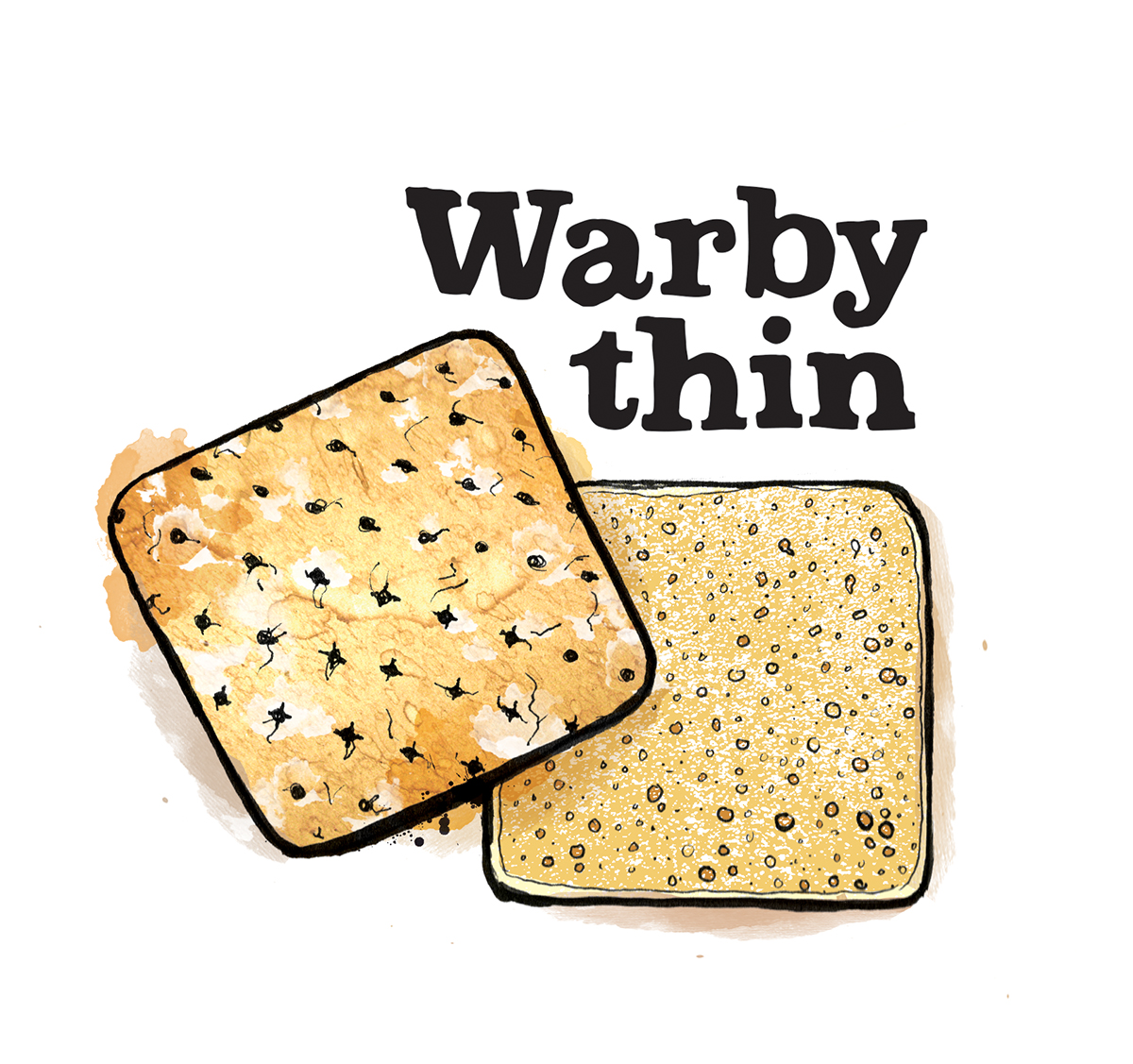 warby thin illustration, food illustration