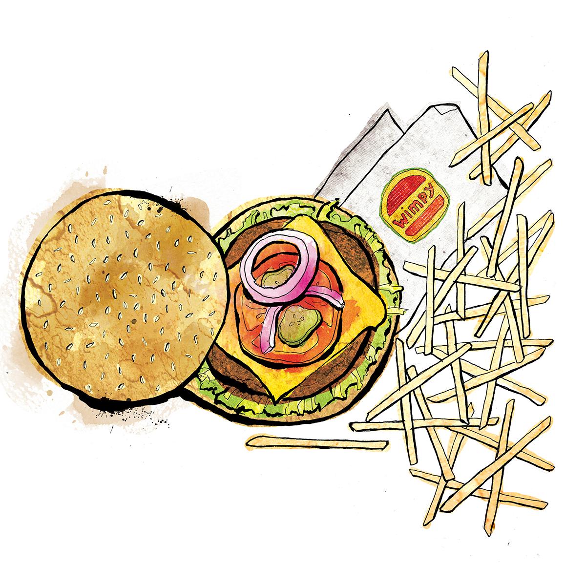burger and chips illustration