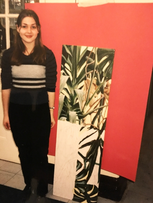 Me with an unfinished painting of plants