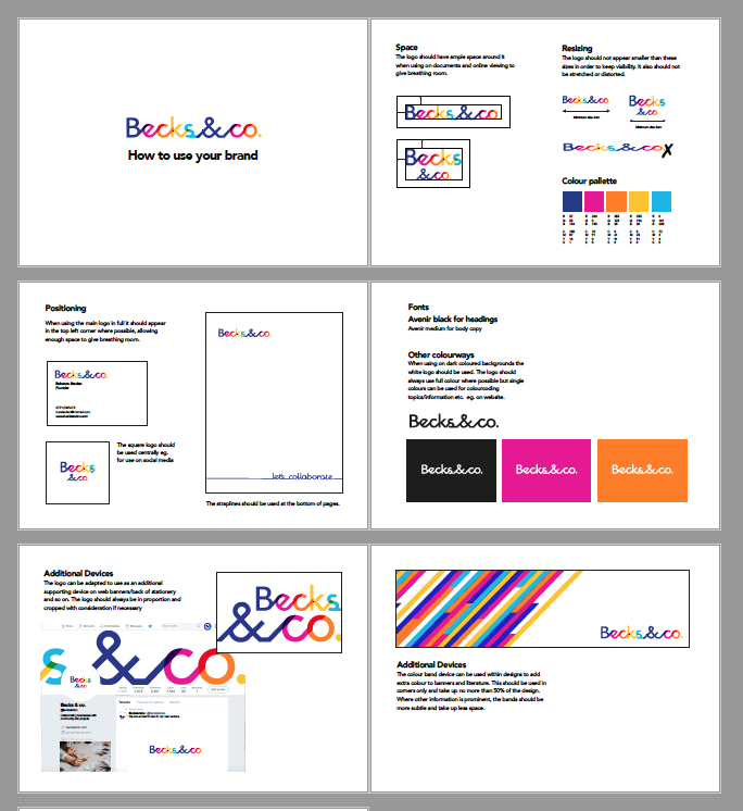 Once the designs were approved I went on to create brand guidelines so that it was clear how to use the elements on further collateral should other people need to design other work for the brand in future.