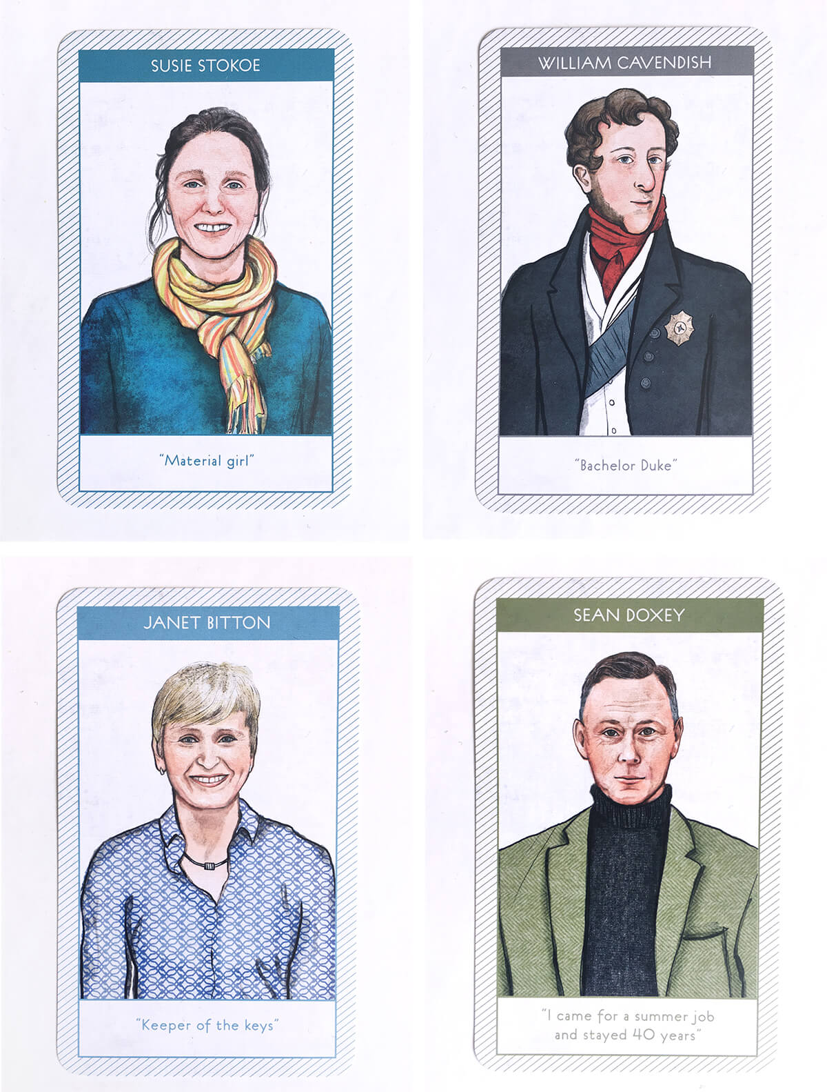 I then created card designs with the portraits on the front and important information on the back. The cards needed to be simple and informative to convey information clearly at a small scale.