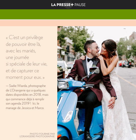 Featured in La Presse, photo from Jessica & Marco's dream wedding at Ristorante Beatrice.