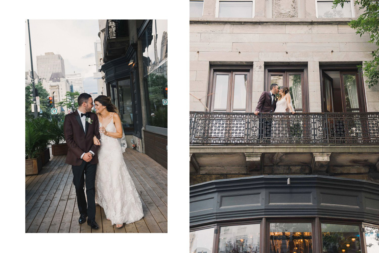 Wedding portraits of the happy couple outside of Ristorante Beatrice in the heart of downtown Montreal.