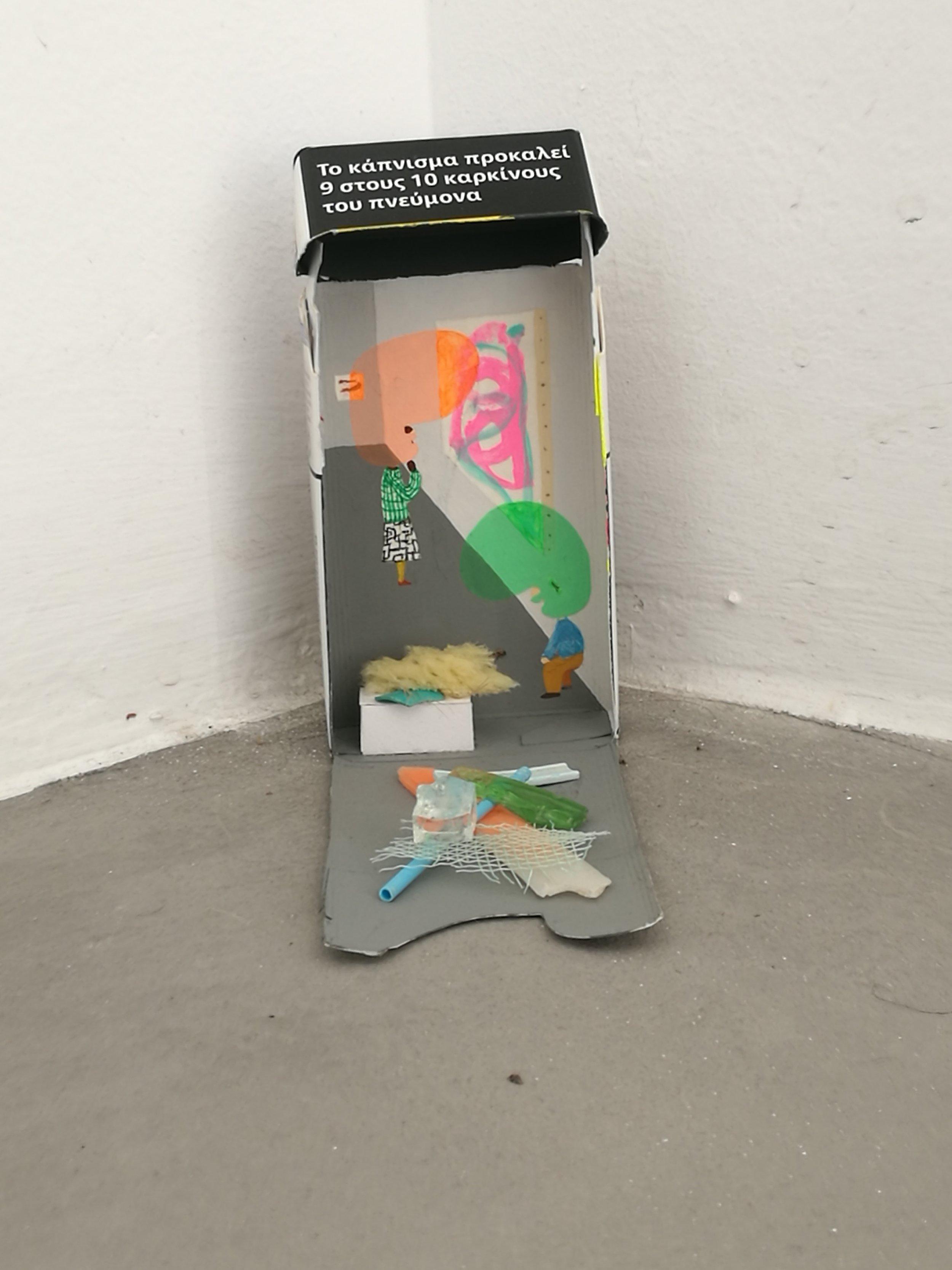 Peter McDonald_Mykonos Gallery_Acrylic gouache, sponge, plastic, glass, and plant fibre on cigarette box_Variable dimensions_2018.jpg