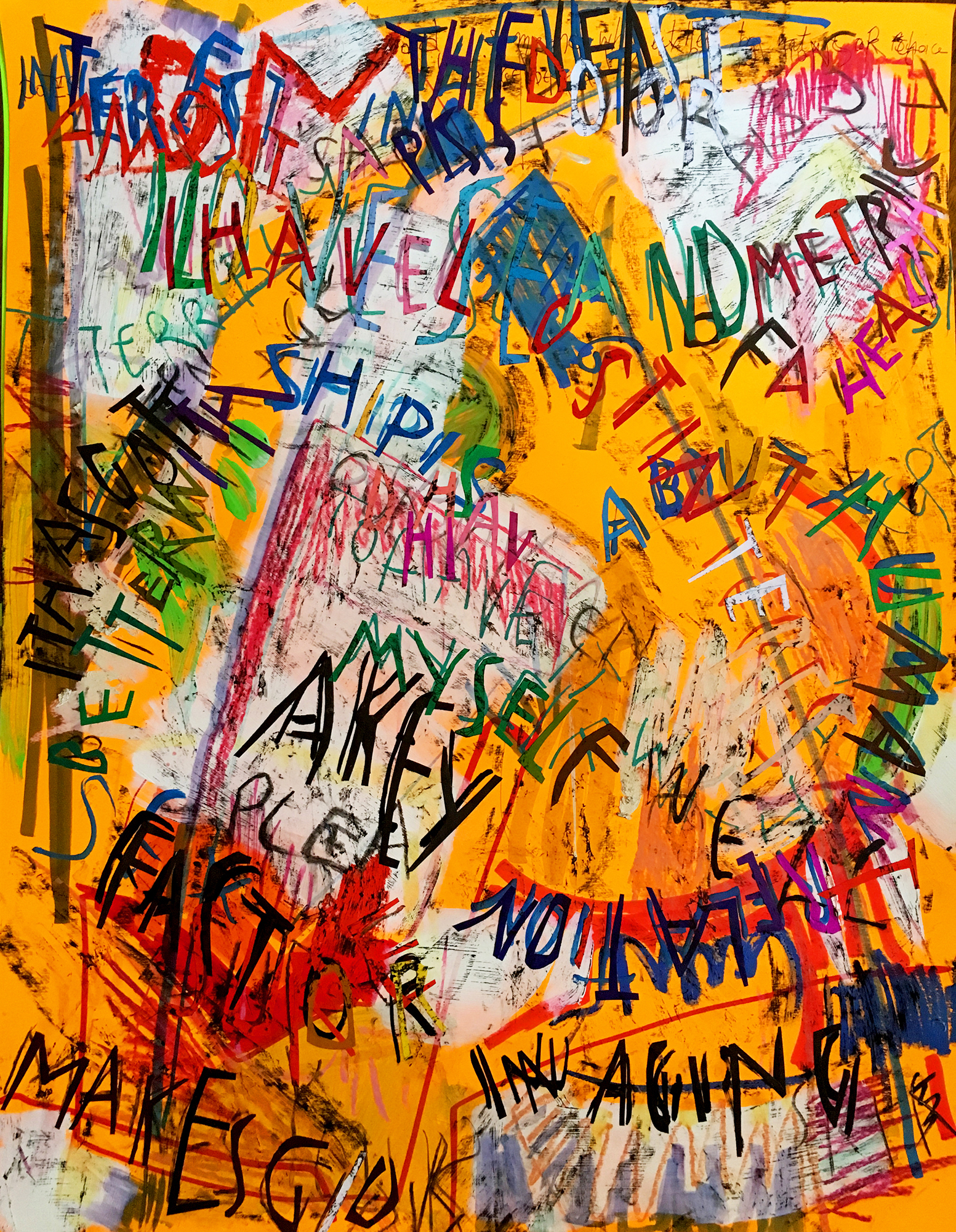 Despina Stokou_Wallflower (orange)_Markers, pastel, and paper collage on primed neon colored paper_71 x 56 cm_2018 copy.jpg