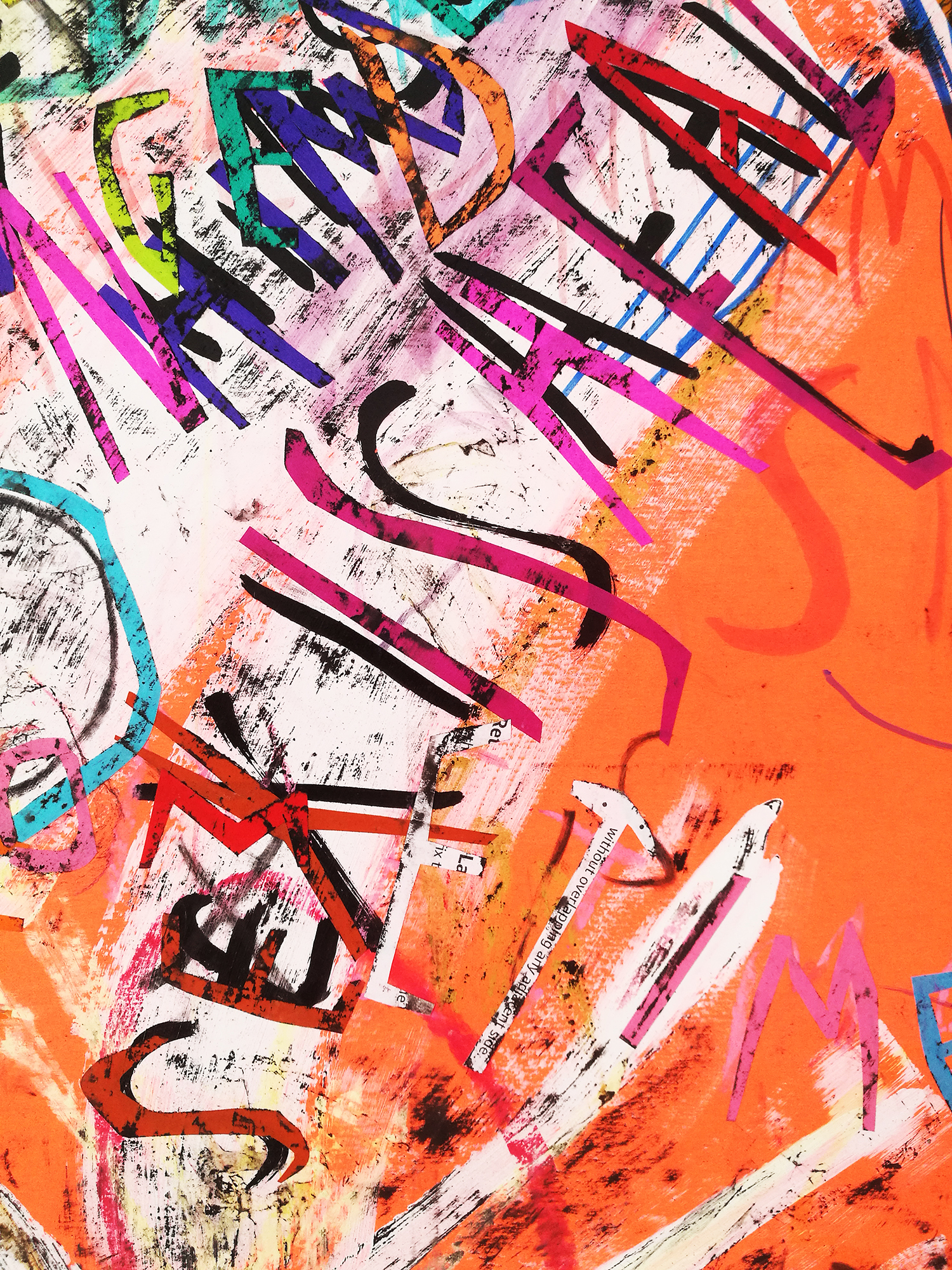 Despina Stokou_Wallflower (peach)_Markers, pastel, and paper collage on primed neon colored paper_71 x 56 cm_2018_detailshot.jpg