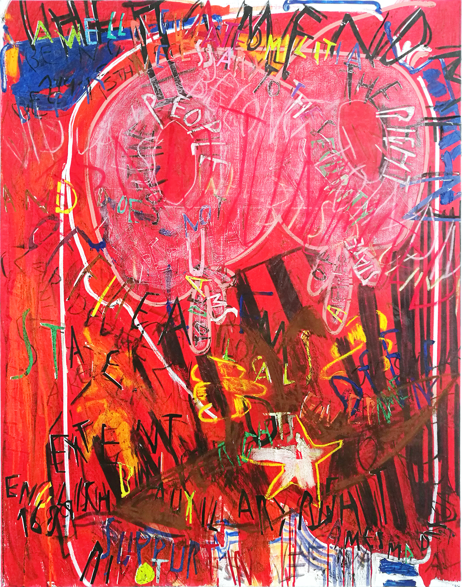 Despina Stokou_RGB affirmations (red)   _Oil and mixed media collage on canvas_123 x 91cm _2018.jpg