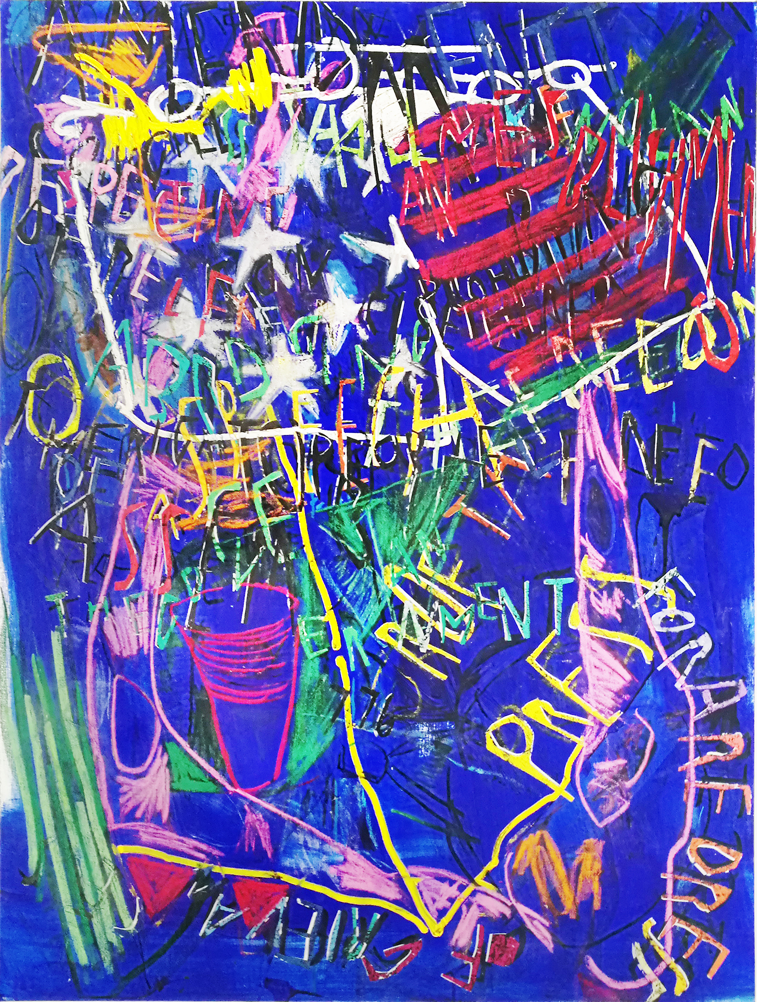 Despina Stokou_RGB affirmations (blue)_Oil and mixed media collage on canvas_123x91cm _2018.jpg