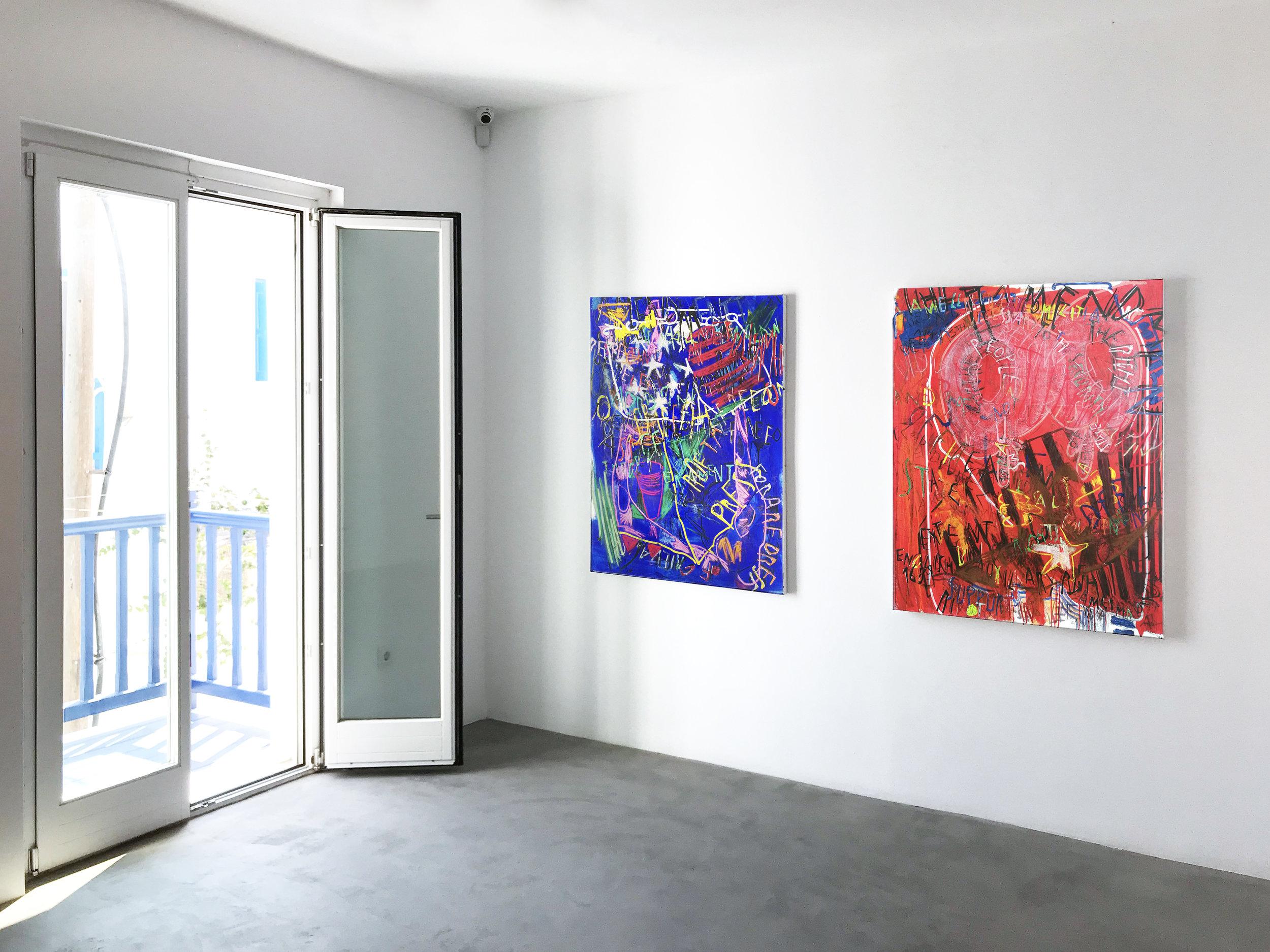 Despina Stokou_Sticky Watermwlon Love_RGB affirmations (blue), RGB affirmations (red)_2018_installation shot.jpg