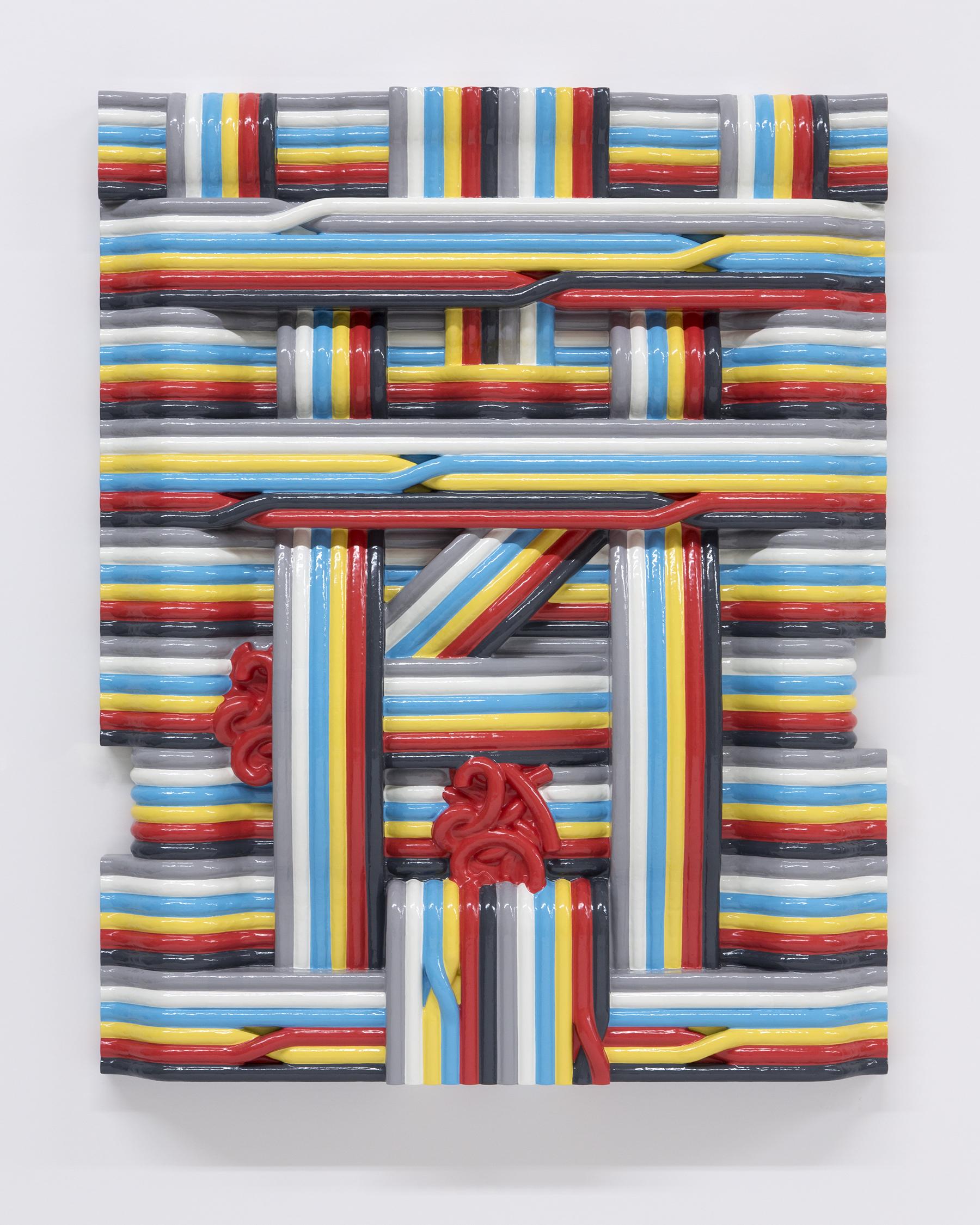 Matthew Palladino_Rainbow Wires_Enamel on resin, plastic and wood_76 x 61 x 8.9 cm_2018.jpg