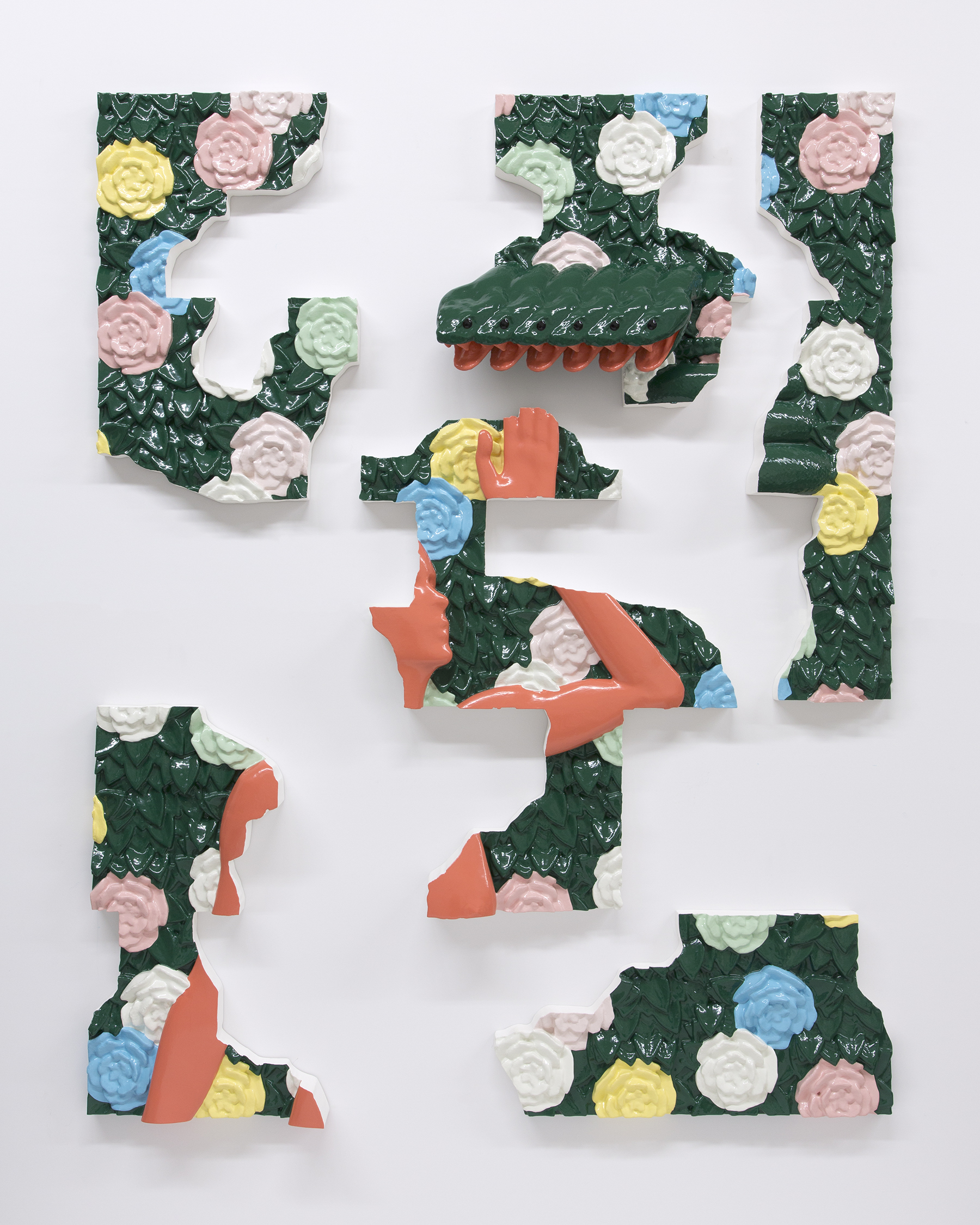 Matthew Paladino_In-A-Gadda (In The Garden)_Enamel on resin, plastic and wood in 6 panel sections_142 x 111 x  12,5 cm_2018.jpg