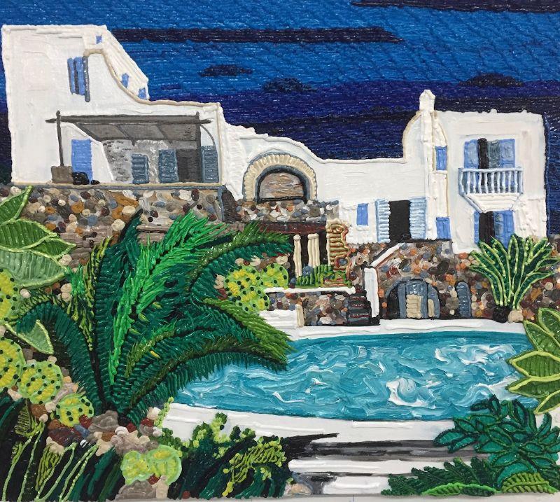 Caroline Larsen, Pool House in Mykonos, 2019. Oil on canvas, 68.6 x 78.7 cm (27 x 31 in).