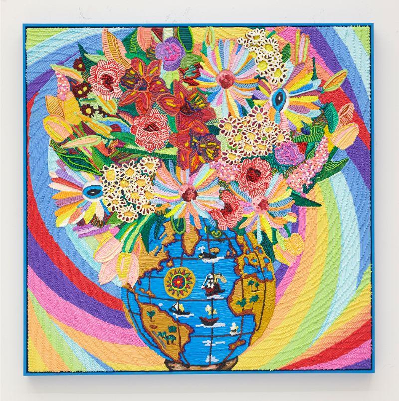 Caroline Larsen,  F.U.T.W. , 2018. Oil on canvas, 109.2 x 109.2 cm (43 x 43 in).