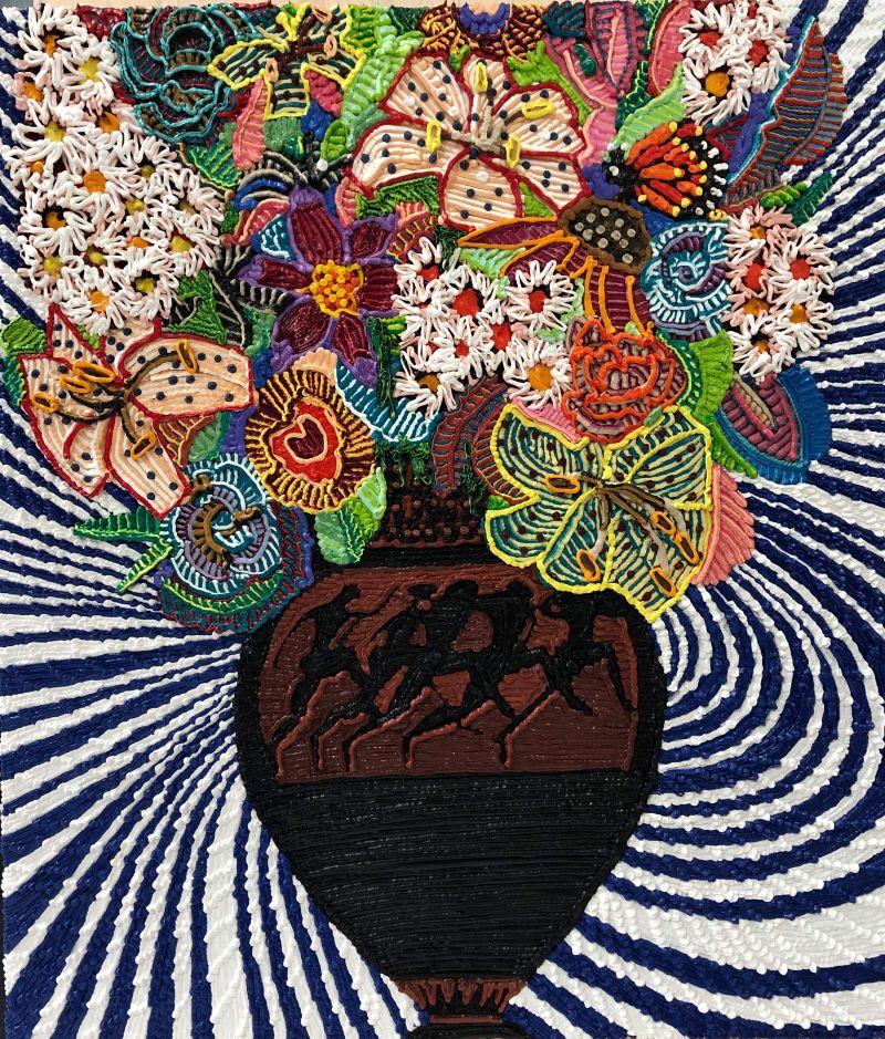 Caroline Larsen, Flowers with Classic Greek Vase 2, 2018-19. Oil on canvas, 78.7 x 53.3 cm (31 x 21 in).