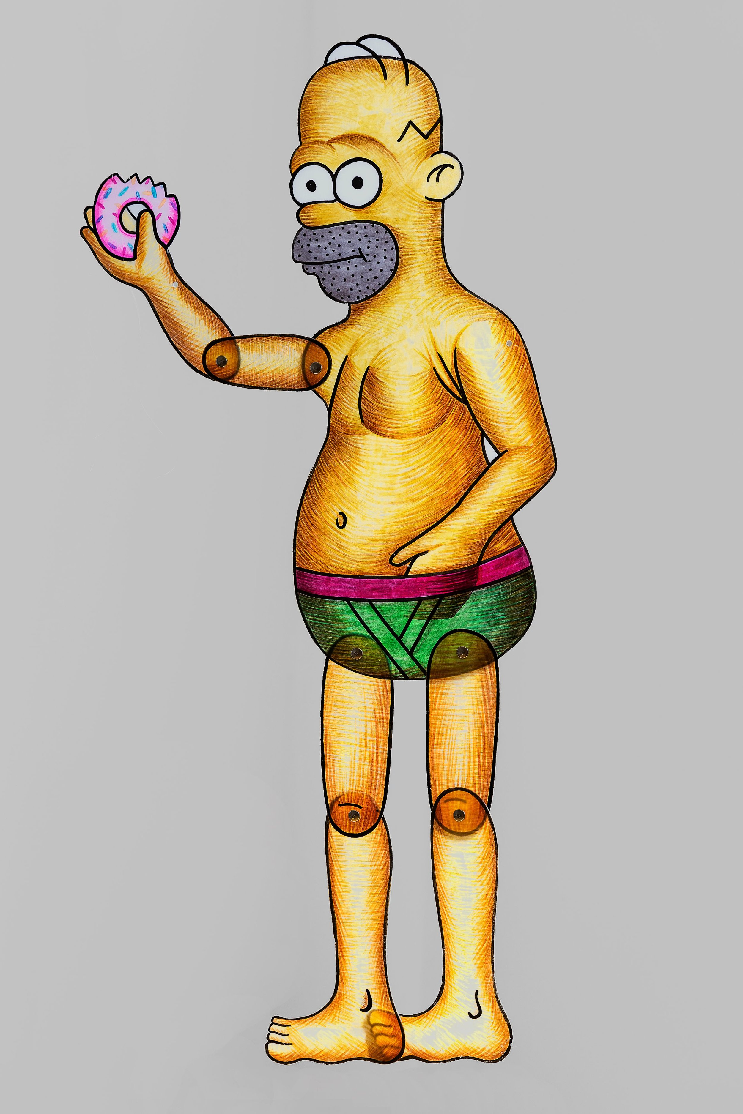Spyros Aggelopoulos, Homer Simpson, 2018. Alcohol markers on polypropylene puppet, approx. 100cm in height.