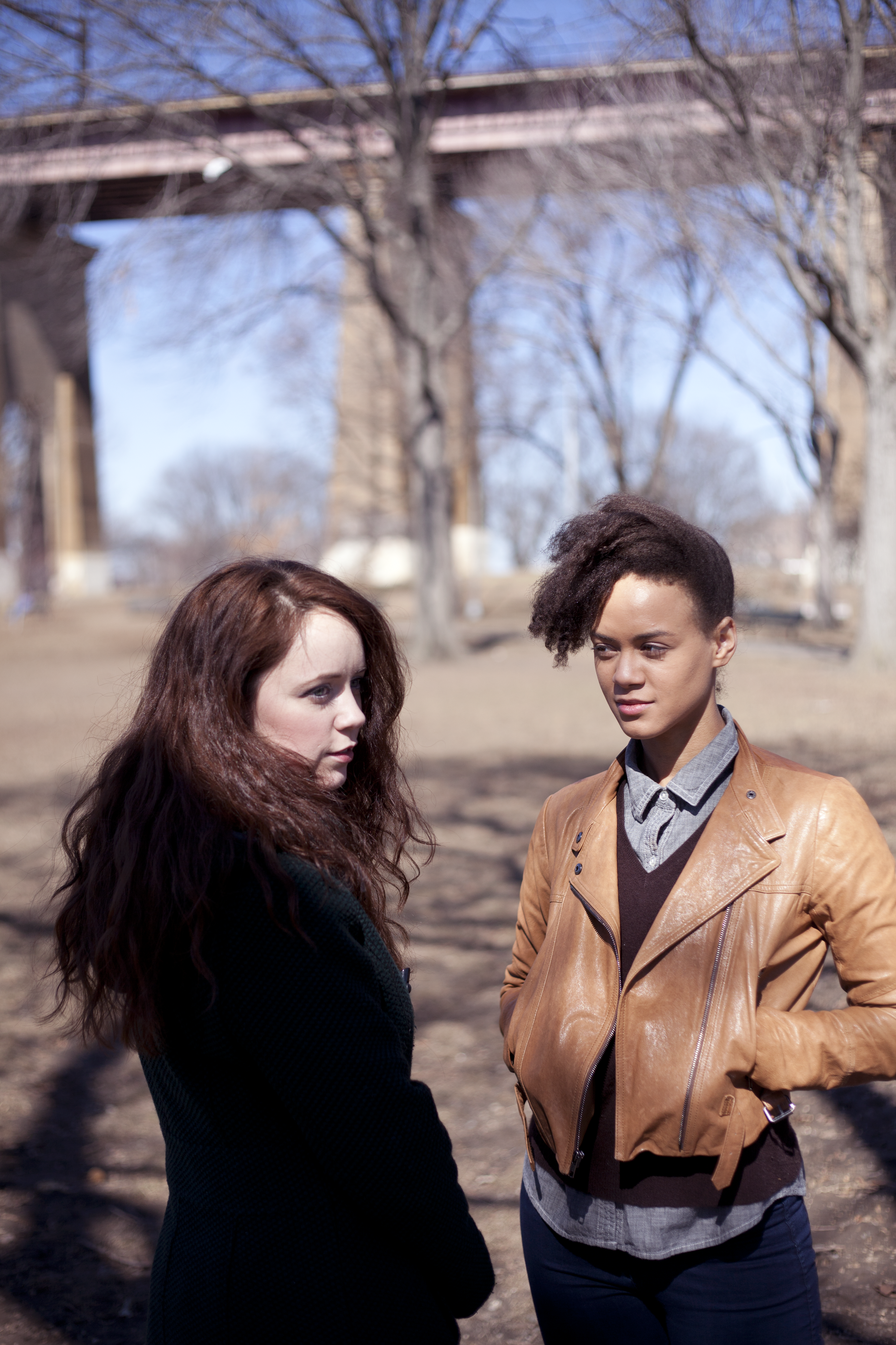 Promotional image for  May Violets Spring  featuring Gwenevere Sisco and Monique St. Cyr in Astoria Park.  Photographs by  Trish Phelps .