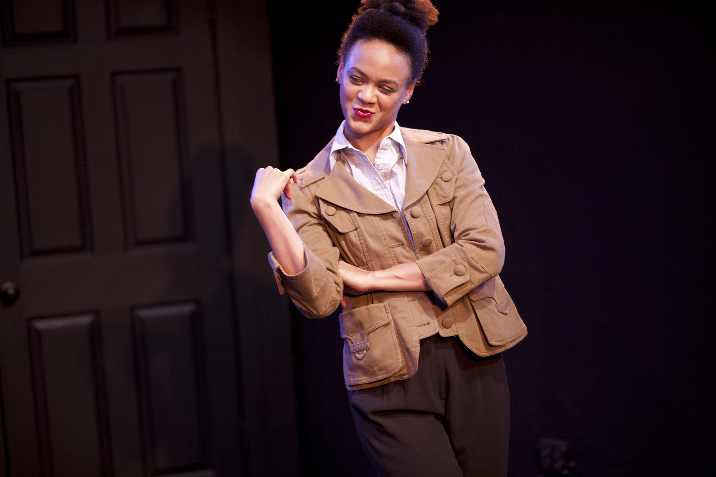 Production image of Horatio (Monique St. Cyr) in May Violets Spring when produced with Dare Lab at The Bridge Theatre inSpring 2014. Photographs by Trish Phelps .