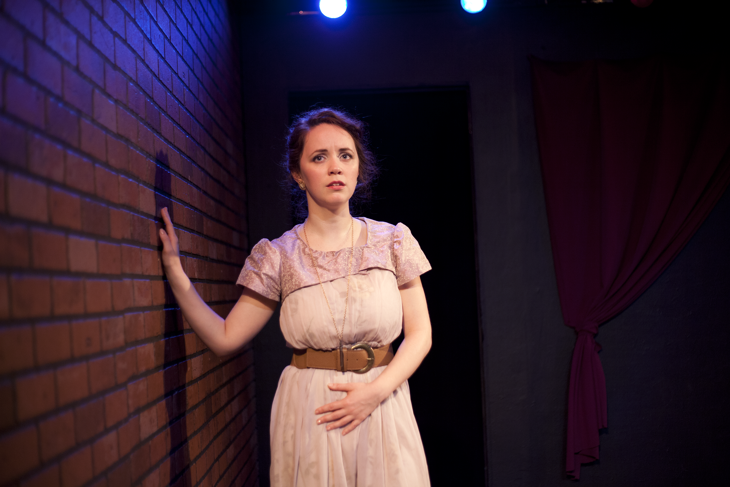 Production image of Ophelia (Gwenevere Sisco) in May Violets Spring when produced with Dare Lab at The Bridge Theatre inSpring 2014. Photographs by Trish Phelps .