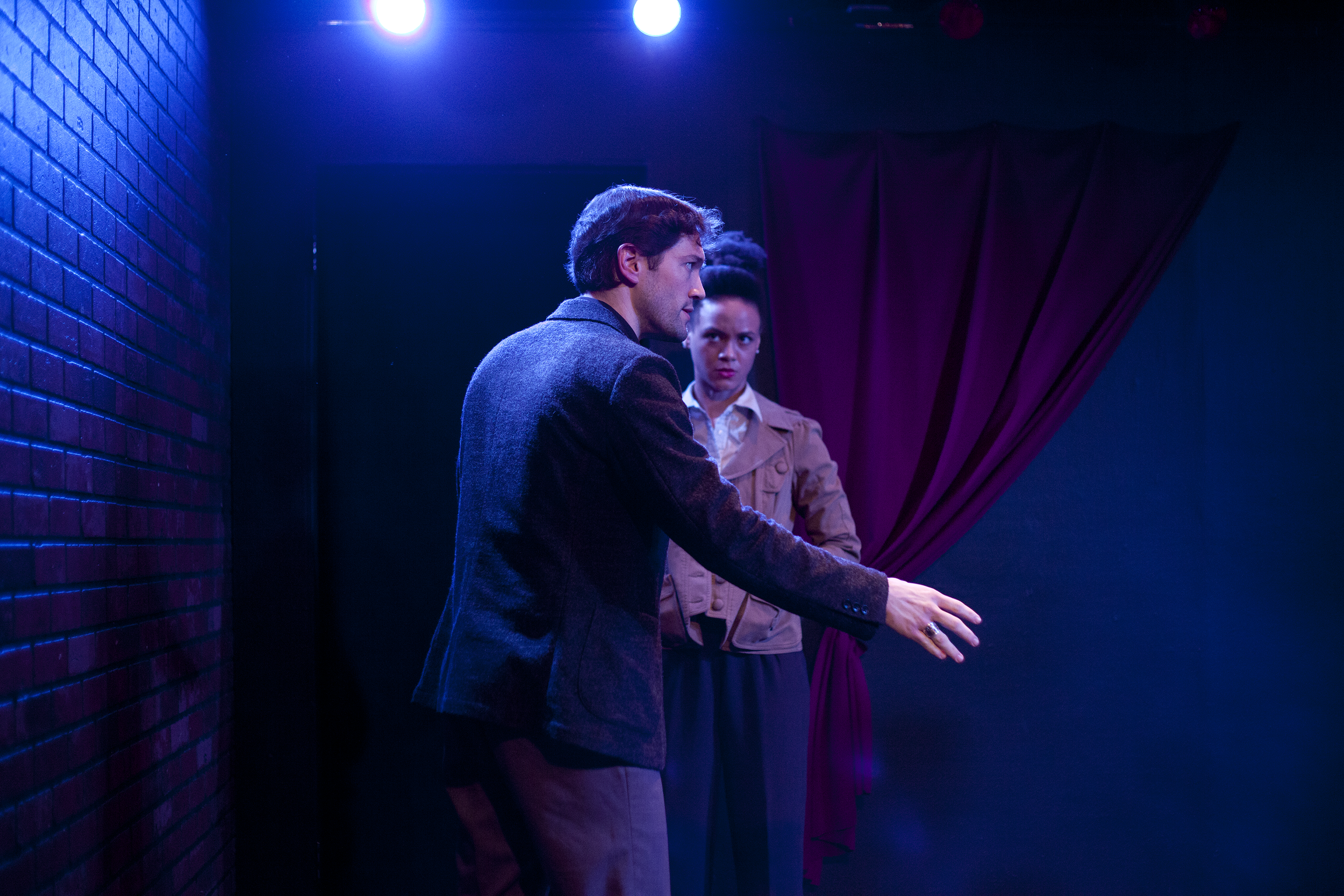 Production image of Hamlet (James Parenti) and Horatio (Monique St. Cyr) in May Violets Spring when produced with Dare Lab at The Bridge Theatre inSpring 2014. Photographs by Trish Phelps .