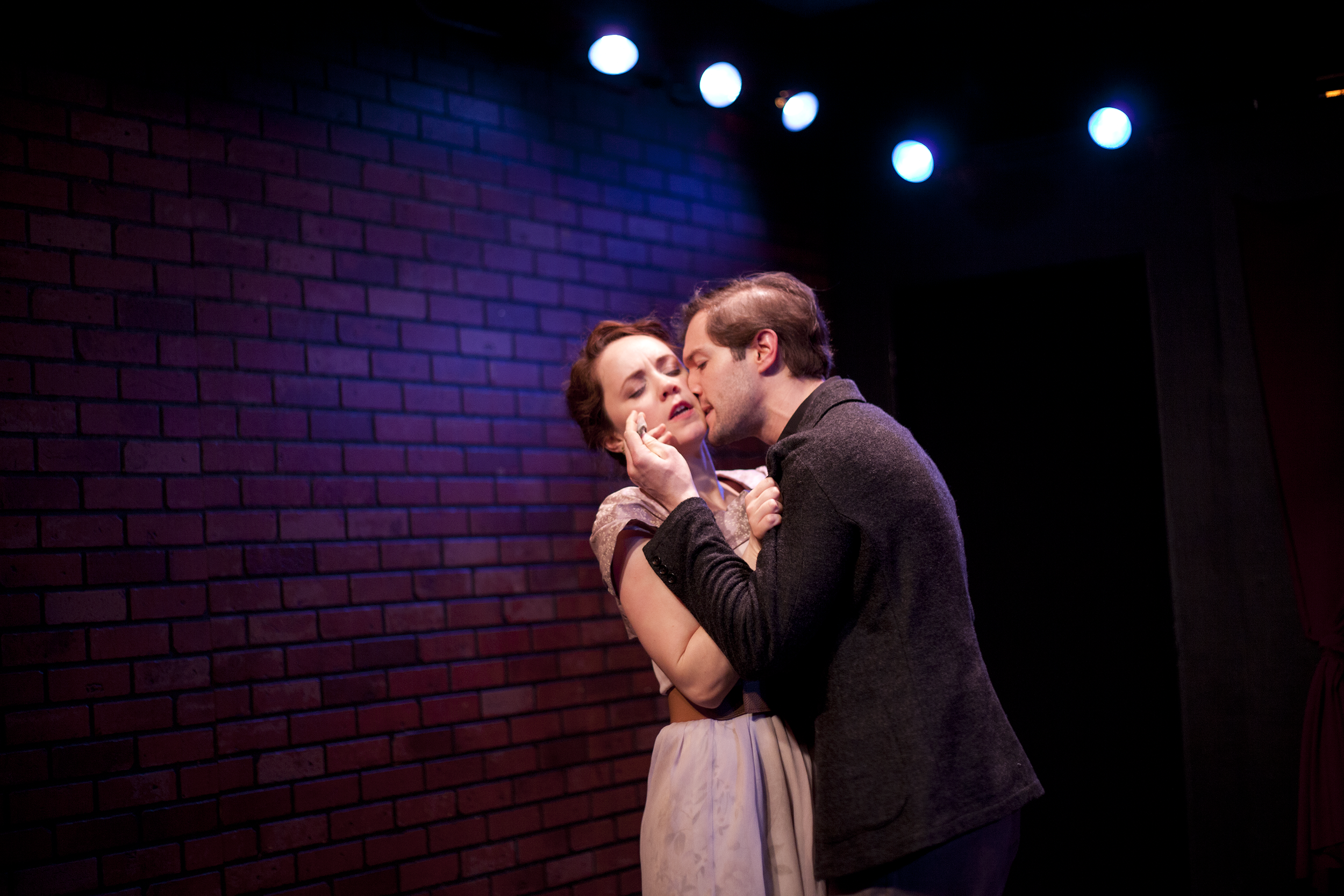 Production image of Ophelia (Gwenevere Sisco) and Hamlet (James Parenti)in May Violets Spring when producedwith Dare Lab at The Bridge Theatre inSpring 2014. Photographs by Trish Phelps .