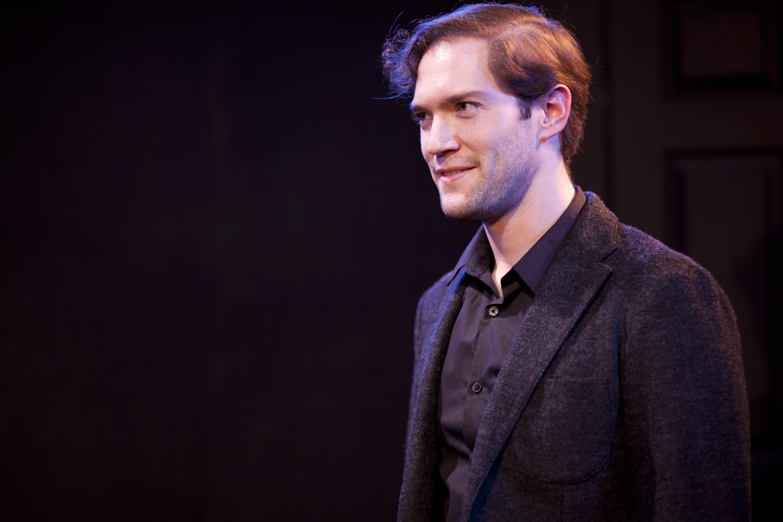Production image of Hamlet (James Parenti) in May Violets Spring when produced with Dare Lab at The Bridge Theatre inSpring 2014. Photographs by Trish Phelps .