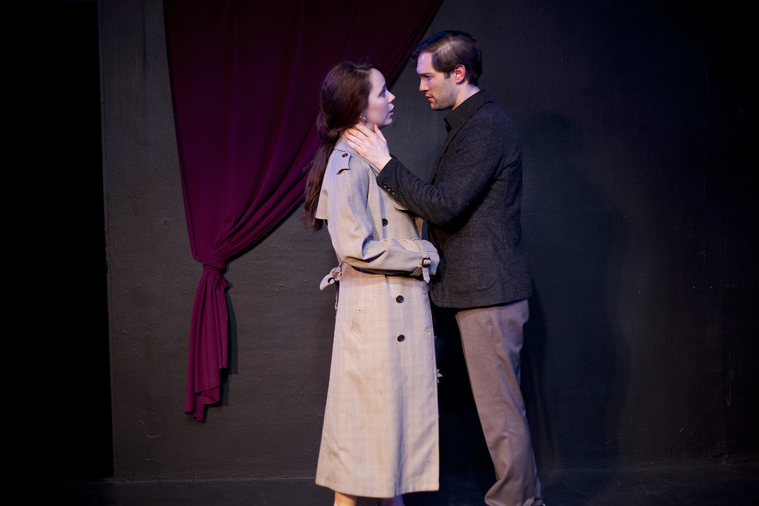 Production image of Hamlet (James Parenti) and Ophelia (Gwenevere Sisco) in May Violets Spring when producedwith Dare Lab at The Bridge Theatre inSpring 2014. Photographs by Trish Phelps .