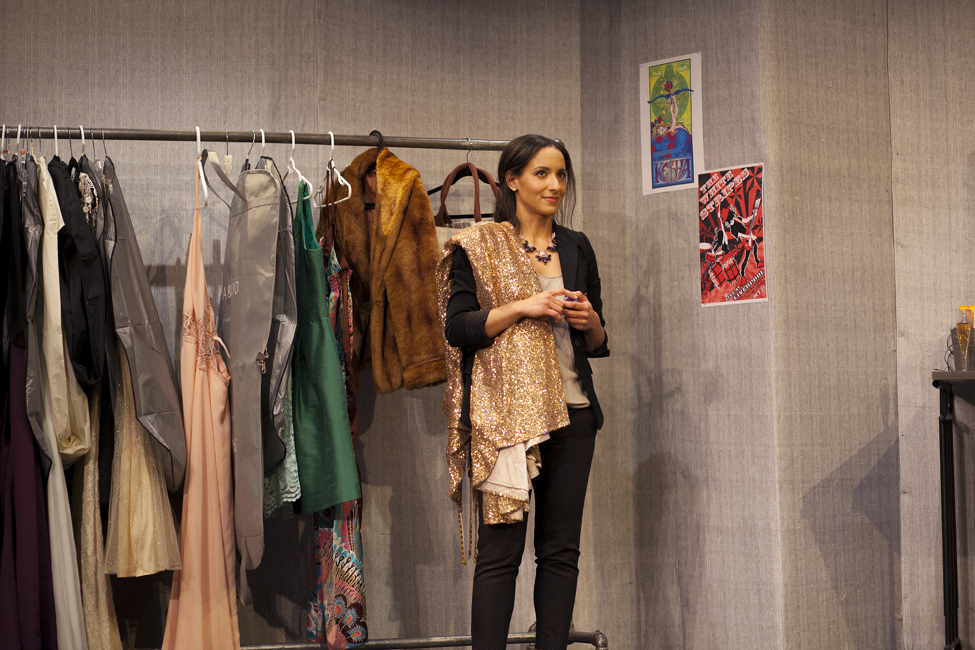 Production image of Anna Martin (Allison Strickland) in  POPTART! when produced by  Girl Just Died at TADA! Theatre in Winter 2015.Photograph by Trish Phelps.