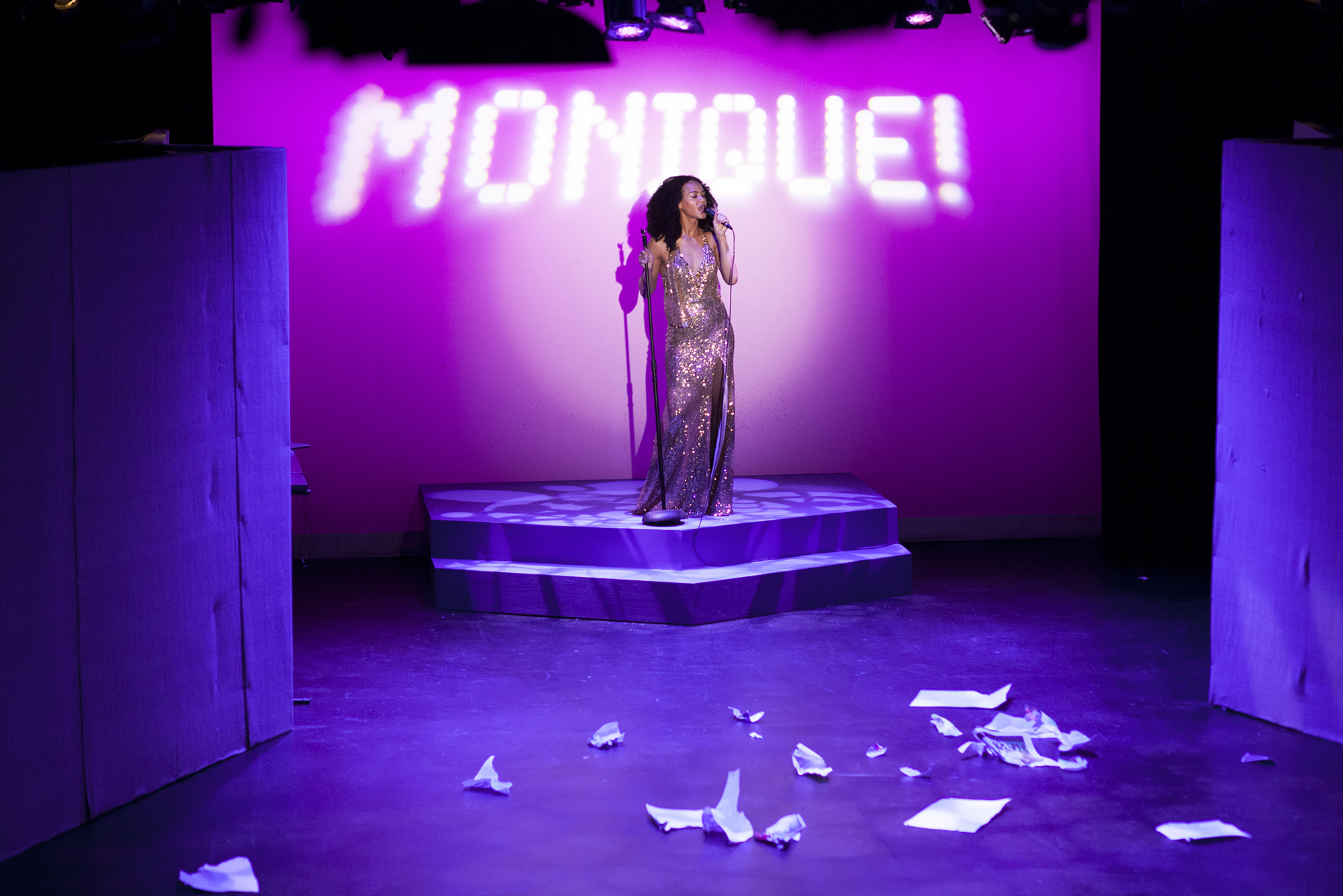 Production image of Monique Jackson (Monique St. Cyr) in  POPTART!  when produced by  Girl Just Died  at TADA! Theatre in Winter 2015.  Photograph by Trish Phelps.