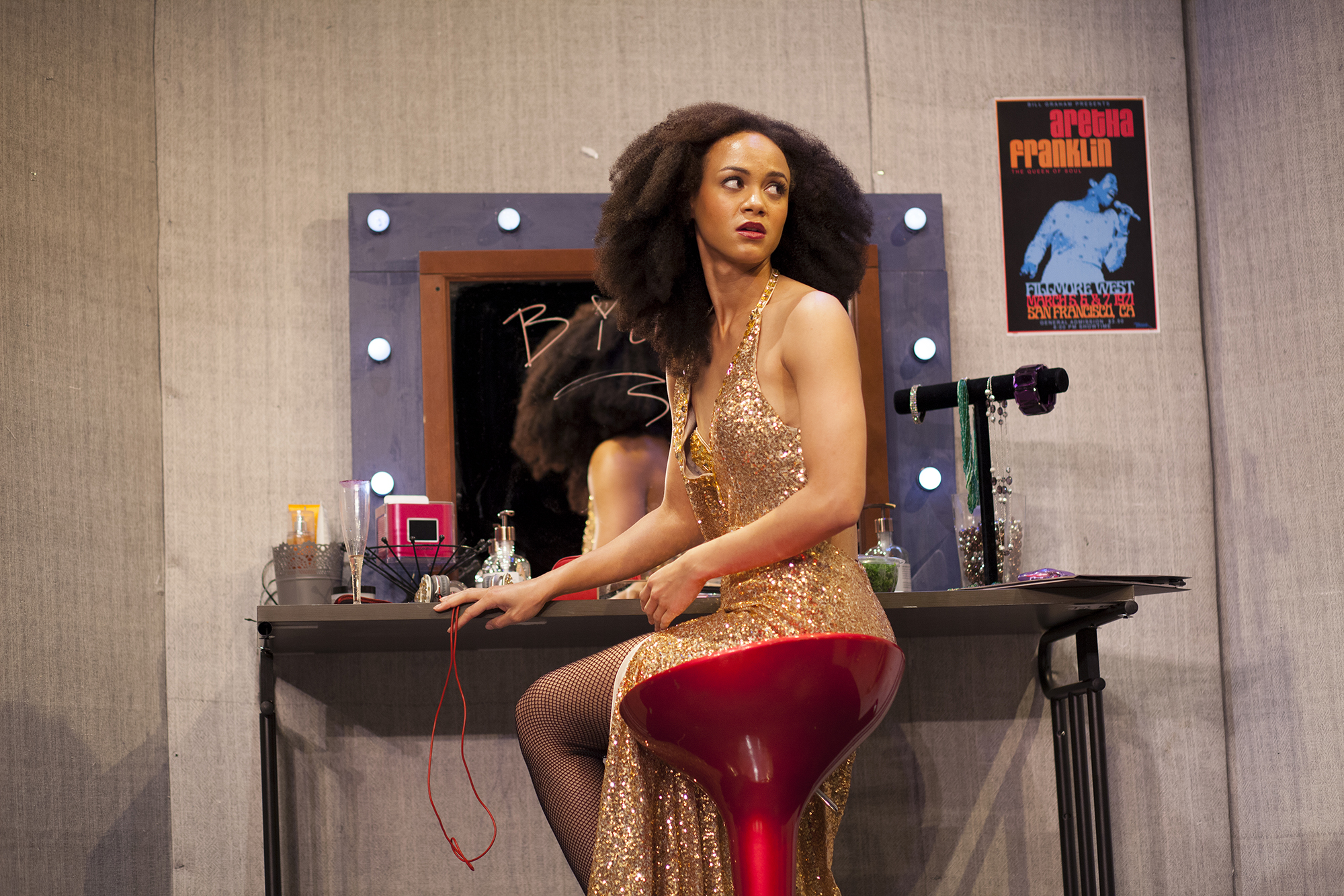 Production image of Monique Jackson (Monique St. Cyr) in  POPTART! when produced by  Girl Just Died at TADA! Theatre in Winter 2015.Photograph by Trish Phelps.