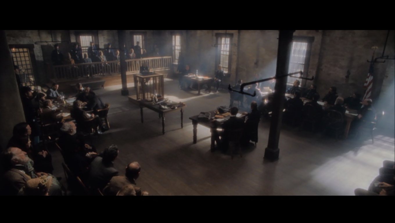Interior courtroom scene
