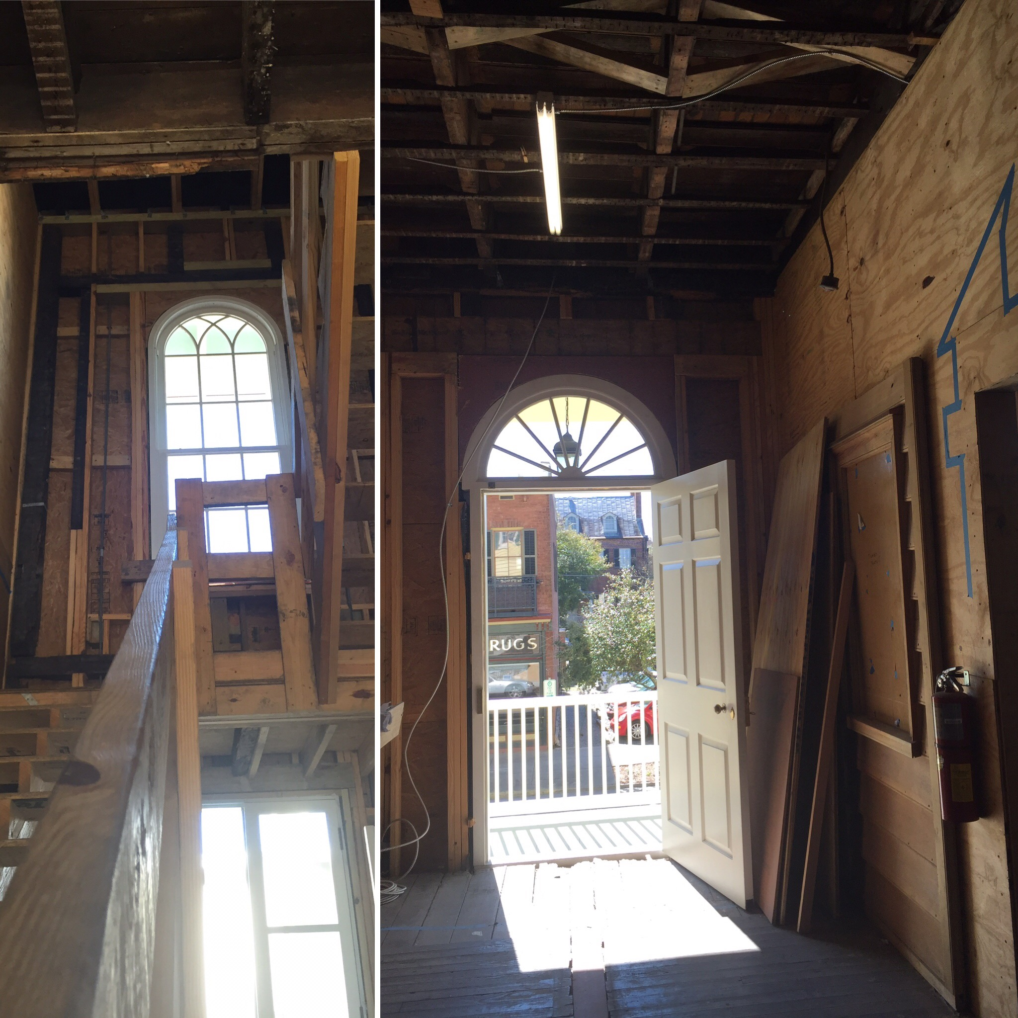 Left: looking toward the back of the house and the rebuilt central staircase. Right: Looking out the front door of the house.