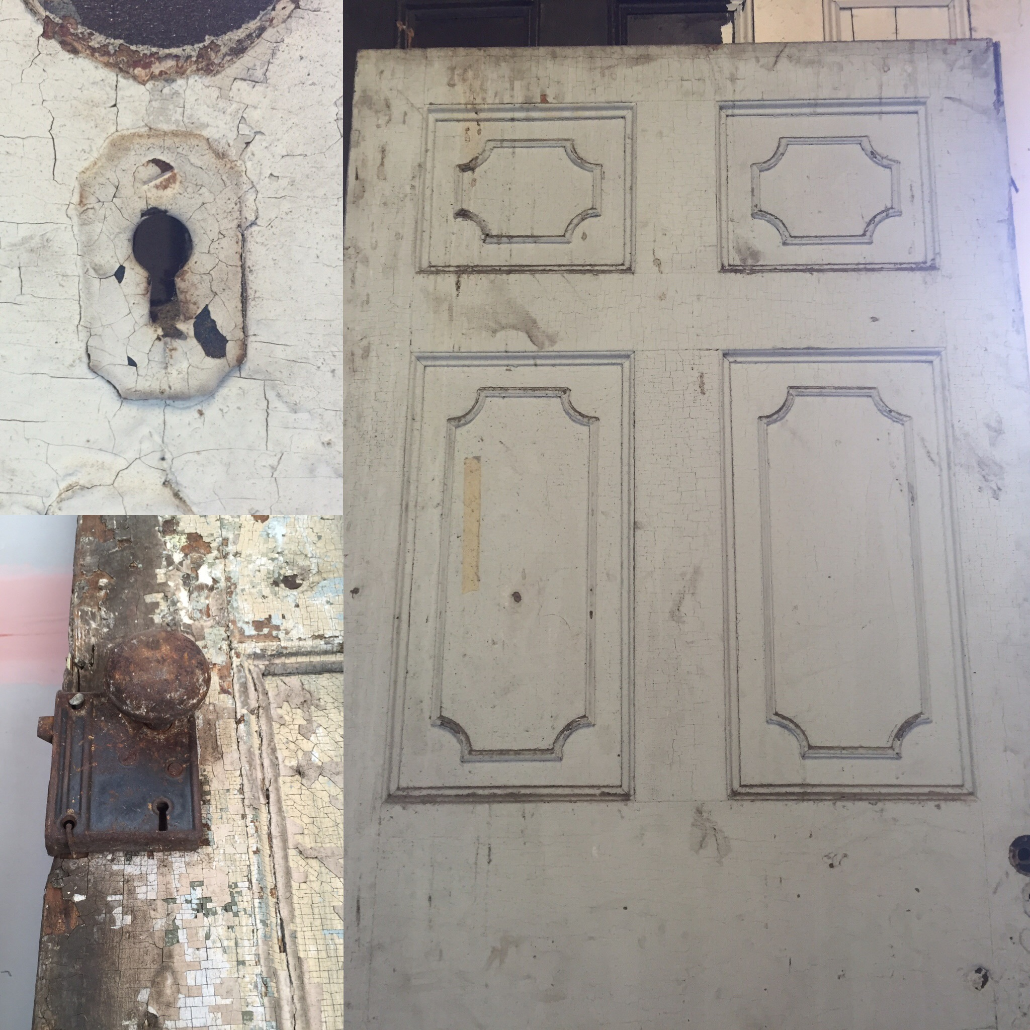 Three different views of original door and hardware.