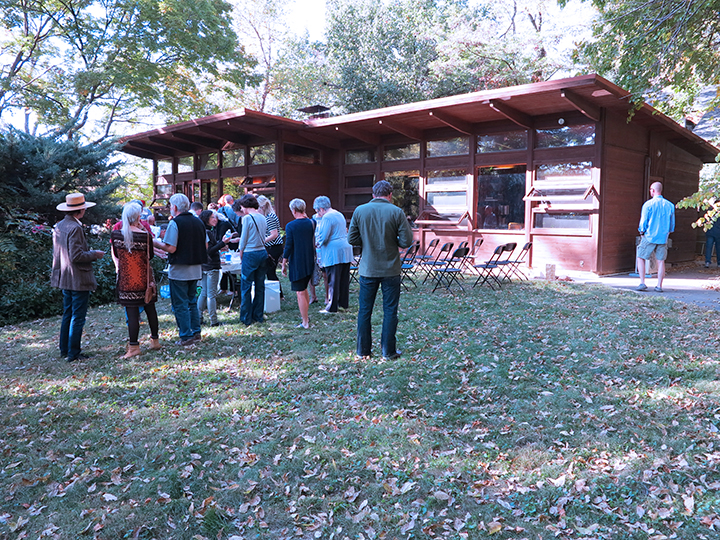People gather for the Lawrence Modern Open House held at the Beal House in October 2015.              Photo courtesy of Tim Hossler.